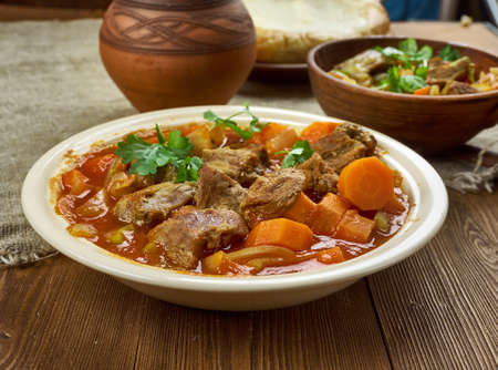 Spicy Welsh Lamb - Hotpot With Vegetables  Stock fotó