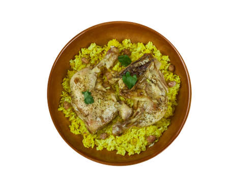Arabian cuisine - Djaj Fouq El-Eish,fragrant flavourful rice dish normally served with roast chicken, Top view.