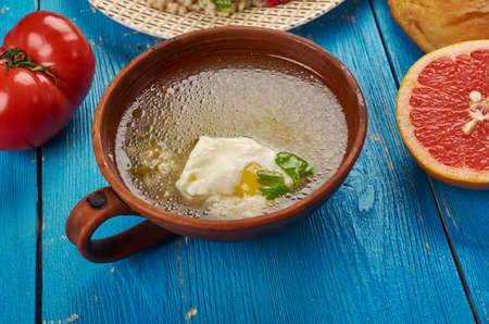 Egyptian cuisine . Traditional Sakhina, Rice and Egg Broth