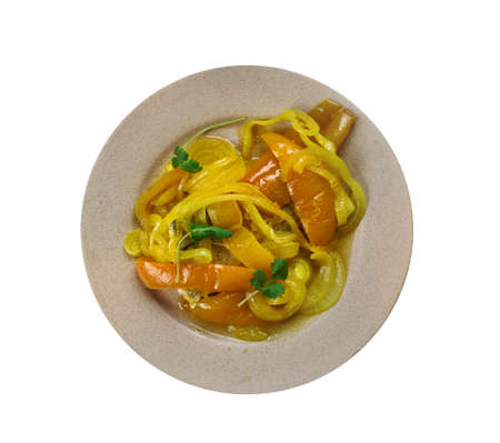 Portuguese cuisine - Atum de cebolada, Traditional  Portugal dishes, Top view.