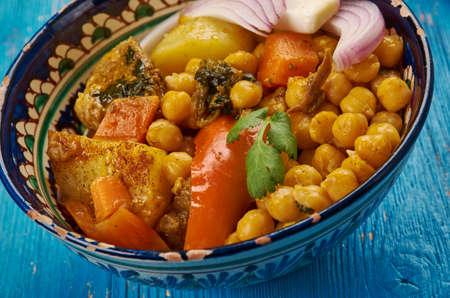 Uzbek soup with chickpeas mohora,nahot-shurpa.Central Asian cuisine. Stock Photo