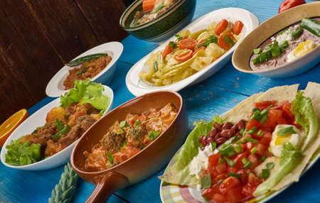 East African cuisine  - Traditional assorted dishes, Top view.