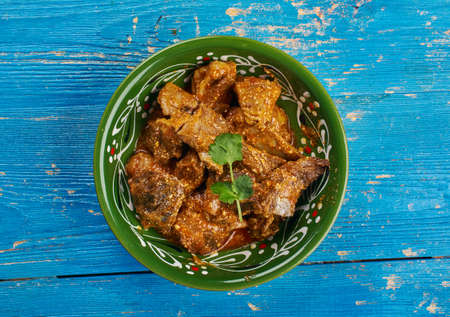 Kerala Style Indian Mughlai Kadhai Gosh, Fry meat in a little oil and ground garlic, salt and ginger.