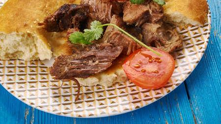 Greek roast lamb - arni sto fourno , close up