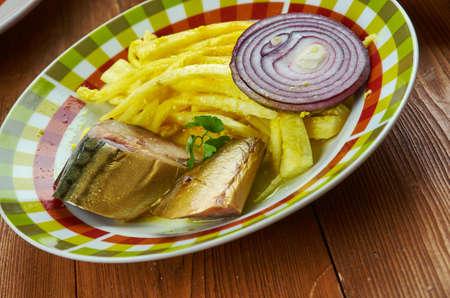 Nigerian cuisine - Nigerian African Salad Abacha Ncha na Ugba-Ukpaka- Traditional assorted  dishes, Top view.