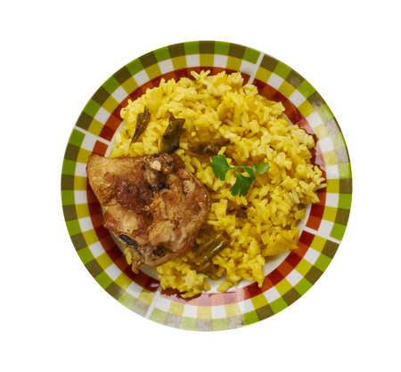 South African biryani , South African cuisine , Traditional assorted dishes, Top view.