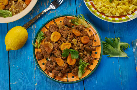 Kalahari mince curry, South African cuisine , Traditional assorted dishes, Top view. Stock Photo