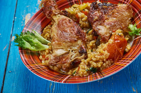 Caribbean One Pot Dish , Jerk Chicken  Rice close up