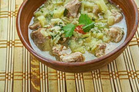 New Mexico Green Chile Stew, close up Stock Photo