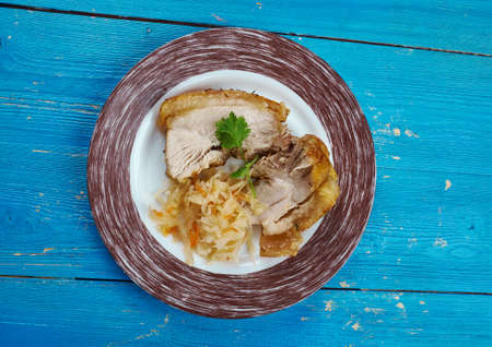 Authentic Schweinebraten German Pork Roast,  Bavarian Style Stock Photo