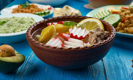 Mexican cuisine , traditional soup Pozole, Traditional assorted dishes, Top view. 스톡 콘텐츠
