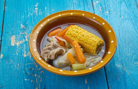 Caldo de Res - Mexican Beef Soup , made from scratch with beef bones, cabbage, potatoes, corn, chayote, and cilantro