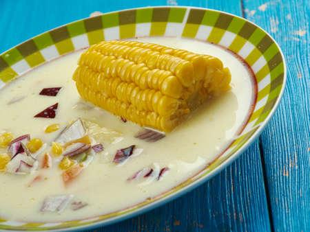 Jamaican Corn Soup - Caribbean Styler soup  close up