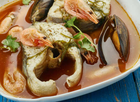 Suquet de peix - French fish soup, close up