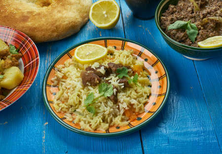 Pakistani cuisine , Scheherazade Biryani - Traditional assorted dishes, Top view.