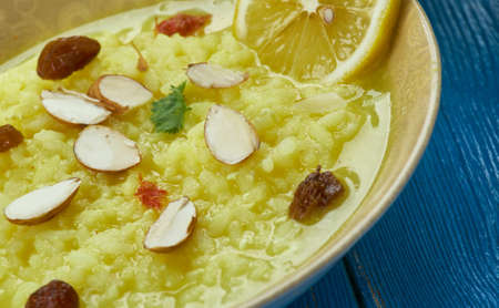 Pakistani cuisine , Palatable Kheer, condensed milk sugar and rice,  Indian version of rice pudding . Traditional assorted dishes, Top view.