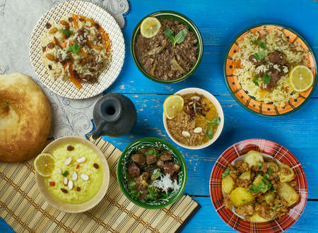 Pakistani cuisine , Traditional assorted dishes, Top view.