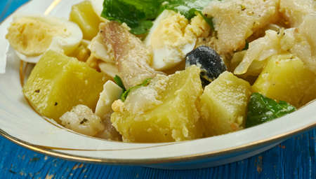 Malaga style salad , Spanish fresh potato salad with salt cod,