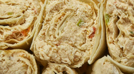 Chicken Taco Mexican Pinwheels, shredded chicken as the main ingredients