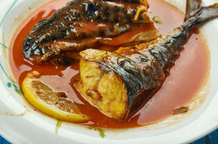 Easy Mackerel tomato stew,  nigerian soup Archivio Fotografico