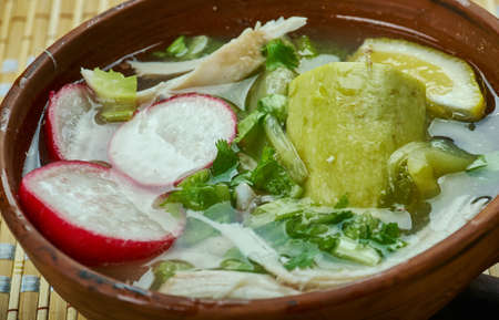Mexican  Pozole Verde de Pollo - Chicken green pozole