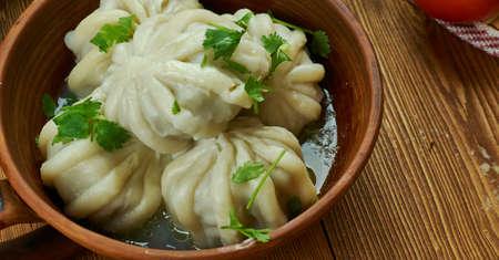 Turkmen Steamed Dumpling Manty, Traditional Turkmen bread, Top view.