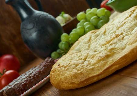 Turkmen Choregi , Traditional Turkmen bread, Top view. Stock Photo
