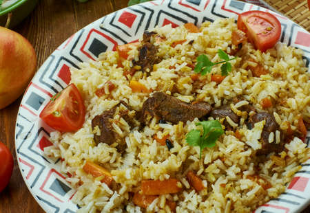 Turkmen Pilaf cuisine , Traditional assorted dishes, Top view. Stock Photo