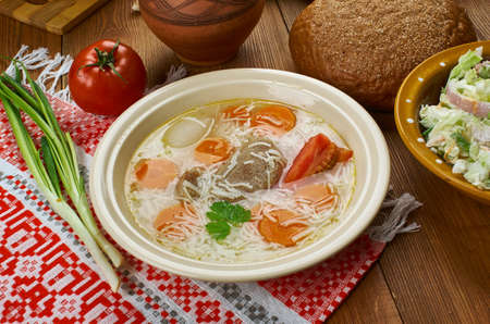 Polish Rosol , Noodle Soup, Traditional assorted Poland dishes, Top view.