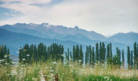 Kirghizia villages, Awesome scenic view, Tien Shan, Bishkek - Osh highway, Kyrgyzstan, Central Asia Stock Photo