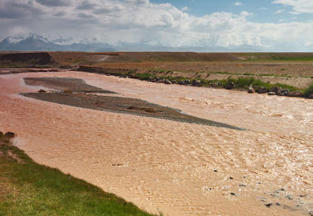 Kysylsuu river,  Red River, Alay Valley of Osh Region, Kyrgyzstan Stock Photo