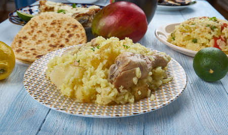 Muri Ghonto, popular dish  Bengali cuisine, Asia Traditional assorted dishes, Top view. Stock Photo - 107981707