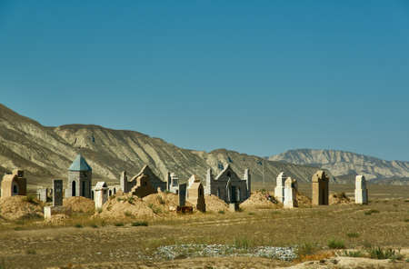 Naryn river valley, Ancient cemetery, Naryn Region, Tian Shan mountains in Kyrgyzstan, Central Asia,