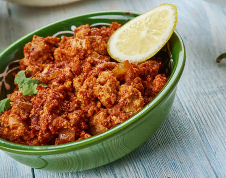 chicken keema, Hyderabadi cuisine, Asia Traditional assorted dishes, Top view.