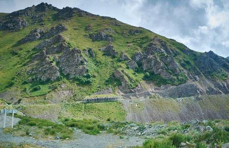 Gorge Kara balta ,Road to  Too-Ashuu pass 3150m,  route from Bishkek to Osh. Kyrgyzstan,