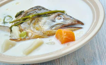 Creamy Norwegian salmon soup - Lakesuppe,  close up Stock Photo