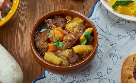 Karjalanpaisti, Karelian hot pot, traditional meat stew originating from the region of Karelia, Finnish cuisine, Traditional assorted dishes, Top view. Banco de Imagens - 110162365