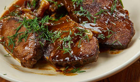 Balsamic Braised Beef, slow cooked beef roast close up