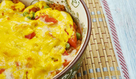 Mexican Beef and Rice Casserole, close up Imagens