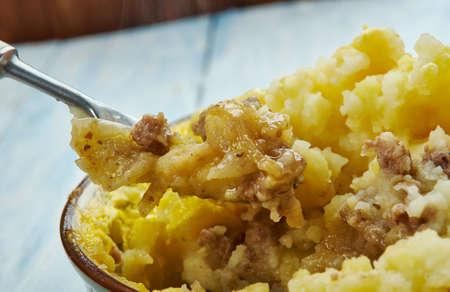 Salisbury Steak Casserole of Caramelized Onion Mashed Potatoes. Stock Photo