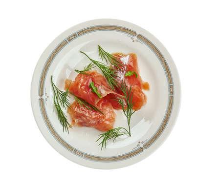 Graavilohi - Nordic dish consisting of raw salmon, cured in salt, sugar, and dill. Stock fotó