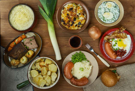 English cuisine, Britain Traditional assorted dishes, Top view.