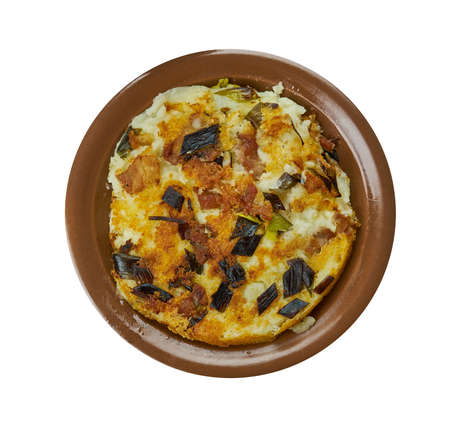 Bubble and Squeak,  traditional British breakfast made from boiled potatoes and cabbage, English cuisine, Britain Traditional assorted dishes, Top view.