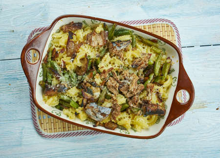 Homemade Chicken, Mushroom and Green Bean Casserole Stock Photo