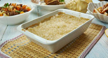 Biko , (Filipino Sweet Sticky Rice, Filipino cuisine, Traditional assorted dishes, Top view.