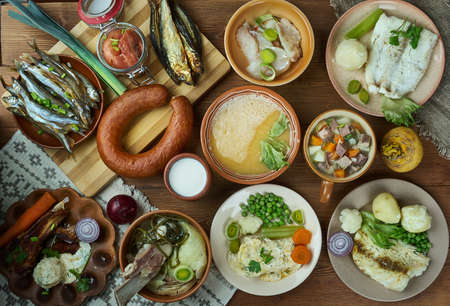 Norwegian cuisine, Traditional assorted dishes, Top view.