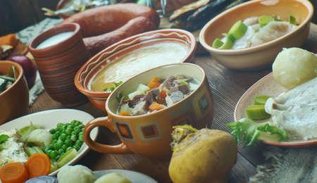 Norwegian cuisine, Traditional assorted dishes, Top view. Stock fotó