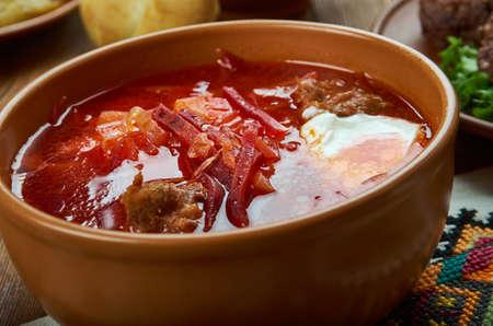 Borscht, sour beetroots soup,   Ukrainian cuisine,  Traditional assorted dishes, Top view.