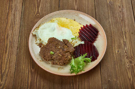 Hakkemat food - traditional northern Swedish dish,Norway, Danish. ground beef or minced pork, mixed with stock, black pepper, and marjoram.