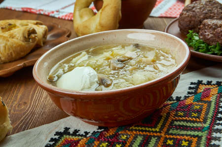 Kapusniak, Cabbage soup , Ukrainian cuisine, Traditional assorted dishes, Top view. Stock Photo